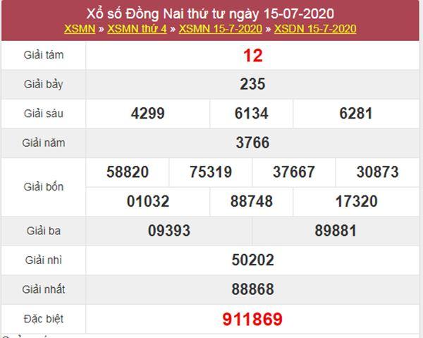 Soi cầu KQXS Đồng Nai 22/7/2020 VIP thứ 4 hôm nay
