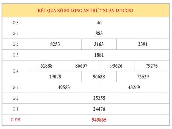 Nhận định KQXSLA ngày 20/2/2021 dựa trên kết quả kỳ trước